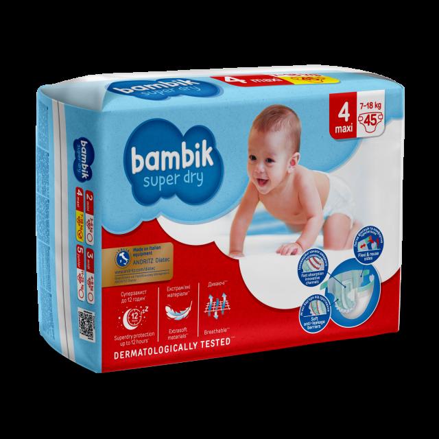 Bambik Подгузнии детские одноразовые  Mega (4) MAXI (7-18 кг), 45 шт