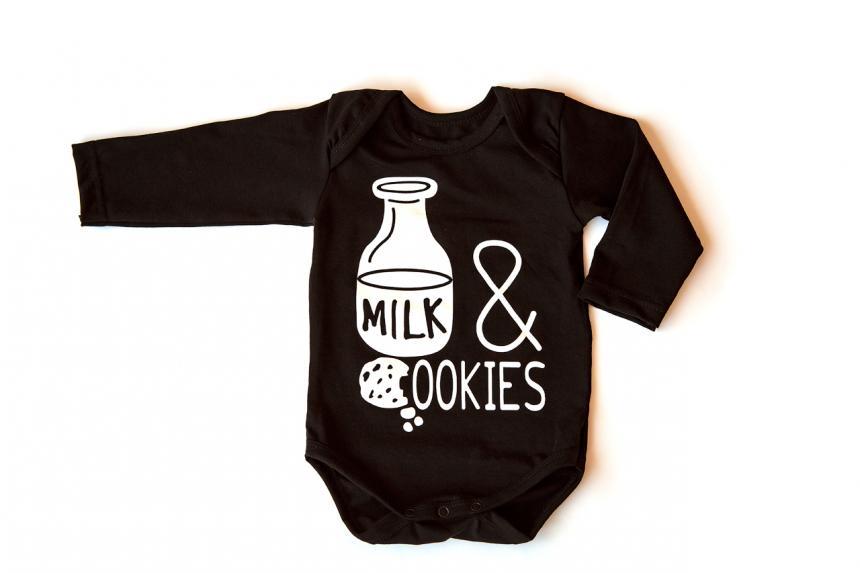 Боди для мальчика (девочки)чёрный Молоко (1049-333)